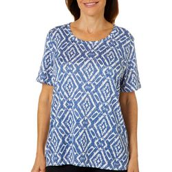 Cathy Daniels Womens Embellished Geometric Scoop Neck Top