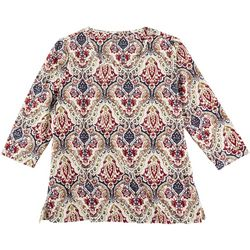 Coral Bay Womens Textured Damask 3/4 Sleeve Top