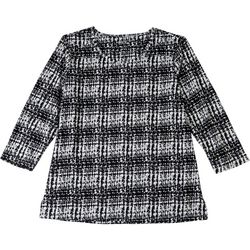 Coral Bay Womens Textured Checkered 3/4 Sleeve Top