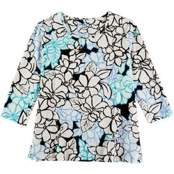 Coral Bay Womens Textured Floral 3/4 Sleeve Top