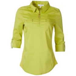 Coral Bay Womens Embellished Quarter Zip Tassel Shirt