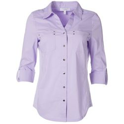 Coral Bay Womens Embellished Button Down Shirt
