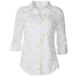Womens Lemon Pocketed Button Down Shirt