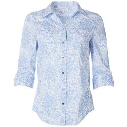 Coral Bay Womens Floral Pocketed Button Down Top