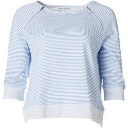 Emily Daniels Womens Striped Pullover Zip Detail Sweater