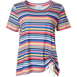 Emily Daniels Womens Asymmetrical Striped Tie Shirt