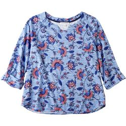 Emily Daniels Womens Horseshoe Neck Floral 3/4 Sleeve Top