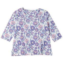 Emily Daniels Womens Purple Flowers 3/4 Sleeve Top