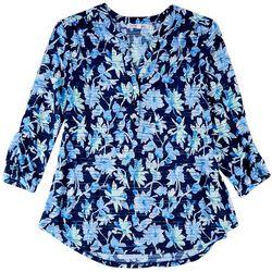 Emily Daniels Womens Printed Textured Split Neckline Shirt