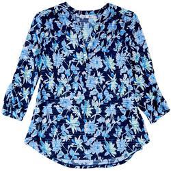 Womens Printed Textured Split Neckline Shirt
