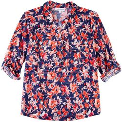 Emily Daniels Womens Vibrant Prints Johnny Collar Shirt