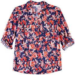 Womens Vibrant Prints Johnny Collar Shirt