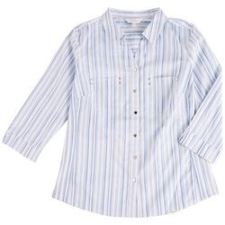 Coral Bay Womens Button Down Dual Chest Pockets Top
