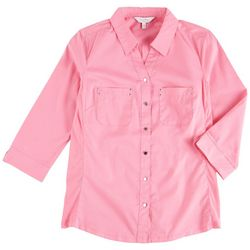 Coral Bay Womens Button Down Solid Color Top