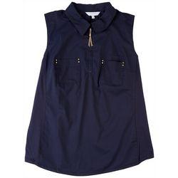 Coral Bay Womens  Point Collar Zipper Up Placket Shirt