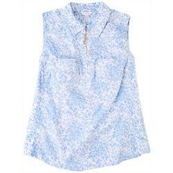 Coral Bay Womens Floral Zipper Up Placket Shirt