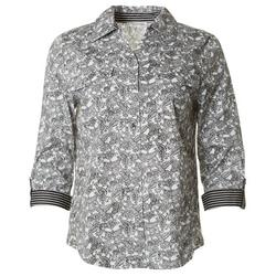 Womens Printed Button Down Top