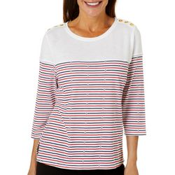 Cathy Daniels Womens Anchor Stripe Button Detail Top