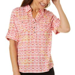 Cathy Daniels Womens Tile Print Roll Tab Top