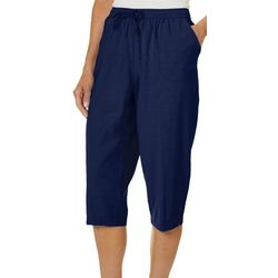 Cathy Daniels Womens Pull On Lattice Hem Capris