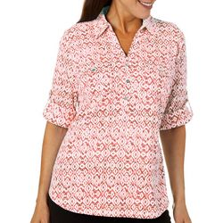 Cathy Daniels Womens Batik Tile Print Roll Tab Top