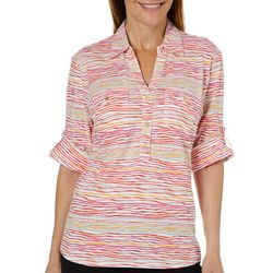 Cathy Daniels Womens Striped Knit Roll Tab Top