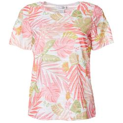 Cathy Daniels Womens Tropical Palm Print Sheer Stripe Top