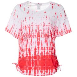 Cathy Daniels Womens Tie Dye Ruched Side Tie Top