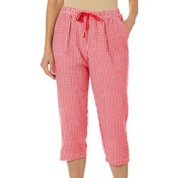 Cathy Daniels Womens Gingham Print Pull On Capris