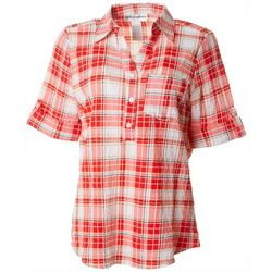 Cathy Daniels Womens Plaid Roll Cuff Sleeve Top