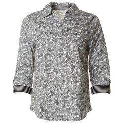 Emily Daniels Womens Printed Button Down Top