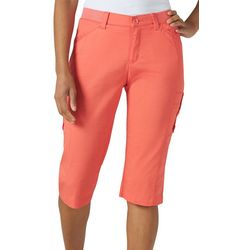 Lee Womens Flex-To-Go Solid Relaxed Fit Cargo Skimmer Capris