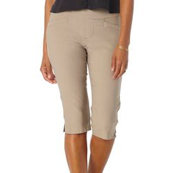 Womens Solid Slim Fit Pull On Capri