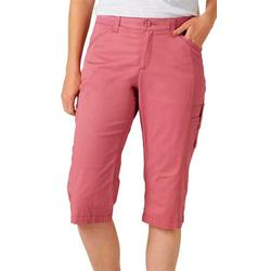Womens Flex-To-Go Solid Relaxed Fit Cargo Skimmer Capris
