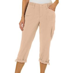 Lee Womens Flex-To-Go Solid Relaxed Fit Cargo Capris