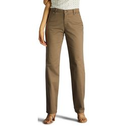 Womens Solid Relaxed Fit Straight Leg Pants