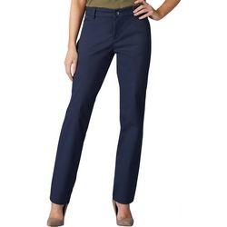 Womens Straight Leg Solid Wrinkle-Free Pants