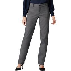 Womens Straight Leg Plaid Wrinkle-Free Pants