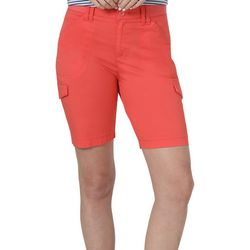 Lee Womens Flex-To-Go Solid Relaxed Fit Cargo Bermuda Shorts