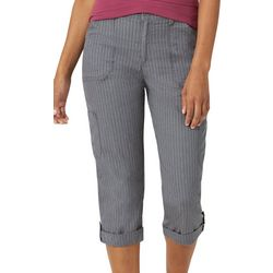 Lee Womens Solid Knit Waist Flex-To-Go Striped Cargo Capris