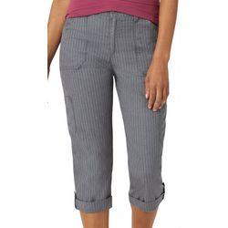 Lee Womens Striped Knit Waist Flex-To-Go Cargo Capris
