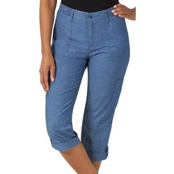 Womens Solid Knit Waist Flex-To-Go Cargo Capris