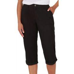 Lee Womens Solid 6 Pockets Cargo Capri Pants