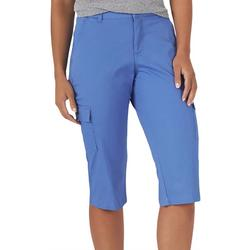 Womens Solid Relaxed Fit Cargo Skimmer Capris