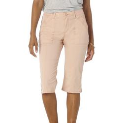 Womans Solid With Pockets Pockets Cargo Capris