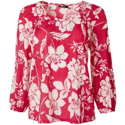 Cure Apparel Womens Floral Silhouette Long Sleeve Knit Tunic
