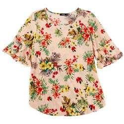 Cure Apparel Womens Ribbed Floral Short Sleeve Top