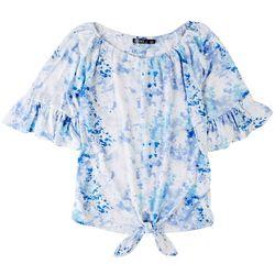 Cure Apparel Womans Tie Dye Long Off Shoulder Tie Front Top