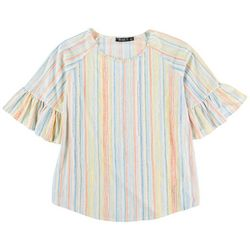 Cure Apparel Womens Striped Short 3/4 Sleeve Top