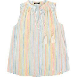 Cure Apparel Womens Multi Color Stripes Smocket Neck